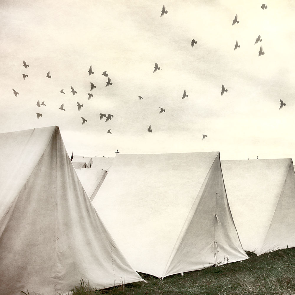 17.TENTS 12.5x12.5 Encaustic Print on Cradle Board.jpg