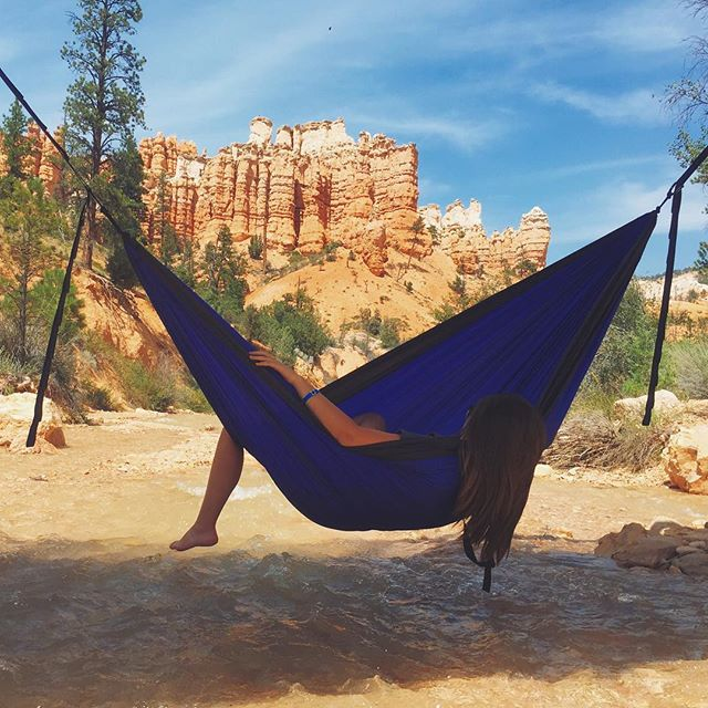 We hammocked over a river with a pretty decent view. #brycecanyonnationalpark #eno #rachaelandtylersbigadventure