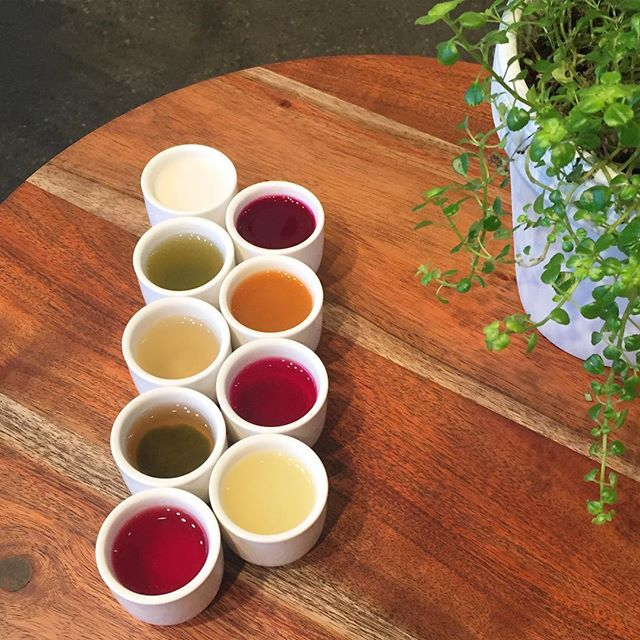 juice flights before beer flights. New to our line up at @oliveandrubycafe is a juice flight with a side of our house made granola.  #drinkyourveggies #healthyissexy #sexyjuice #yvr #dailyhivevan #vancitybuzz