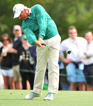 Here Fred Couples is showing just how light he holds the club to create a ton of club head speed.