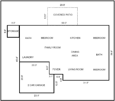 What it turns out the floorplan looked like once the appraiser measured.