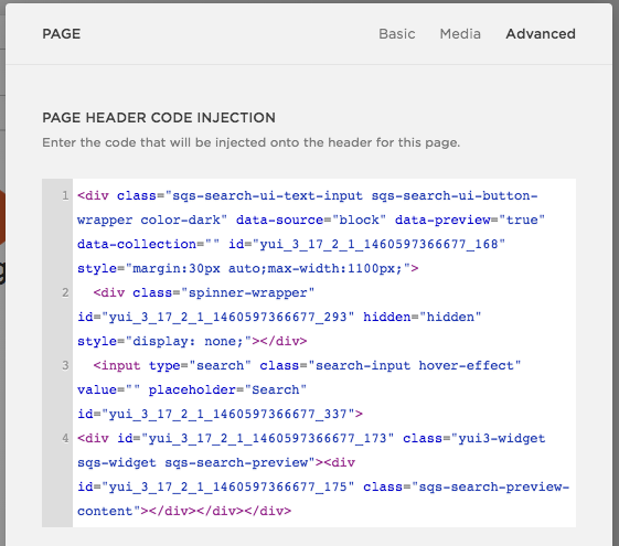 Inject some custom HTML in the page's header