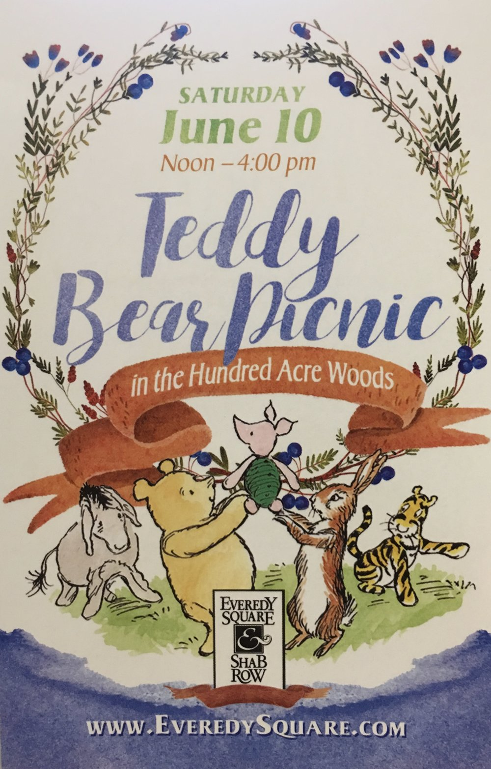 - Our friends from the Hundred Acre Woods are visiting this year! Join Pooh Bear and friends for a fun filled, family friendly day in Everedy Square! Activities include a pin the tail on Eeyore game, face painting, costumed characters, balloons, and a scavenger hunt!