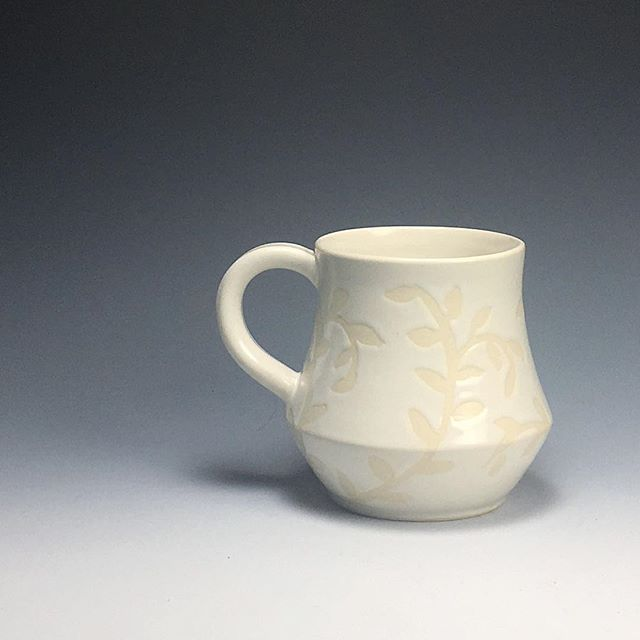Happy #mugshotmonday everyone! I've been trying out some new things recently, and this mug is one of the results! What do you guys think? #whiteonwhite #waxresist #springisonitsway