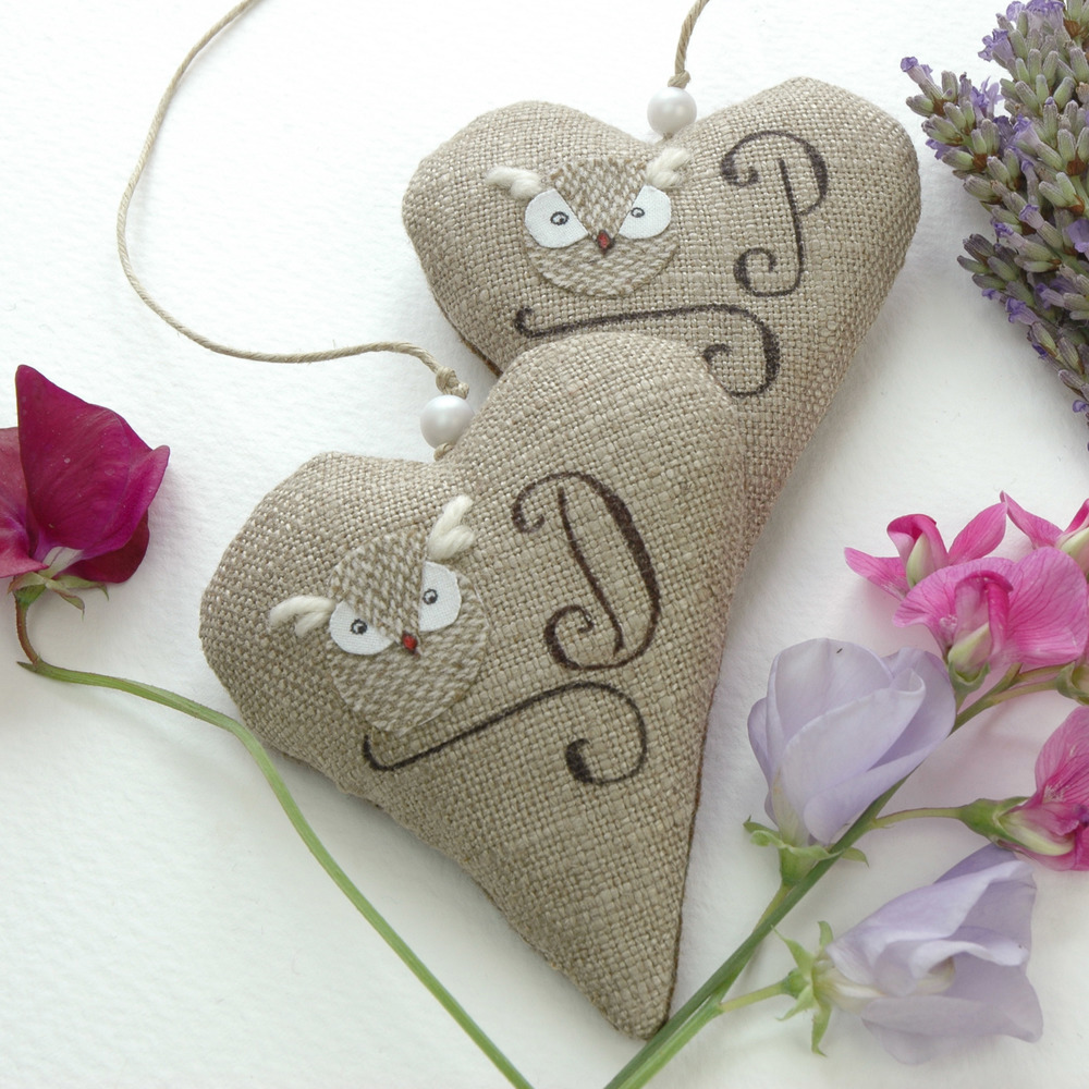 Handmade lavender filled heart hanging decorations.