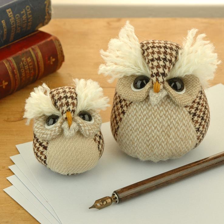 Handmade tweed owl paperweights.