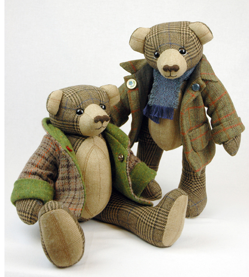 OOAK artist teddy bears handmade from British tweed.
