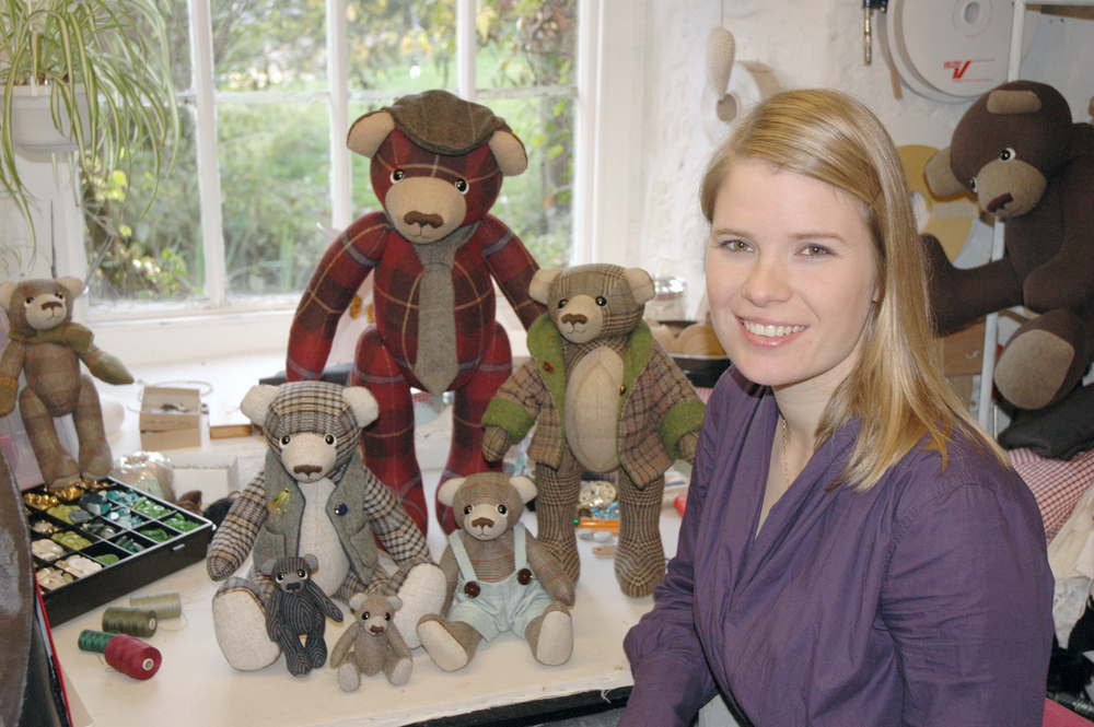 Laura Mirjami in her first studio with some of her OOAK teddy bears.