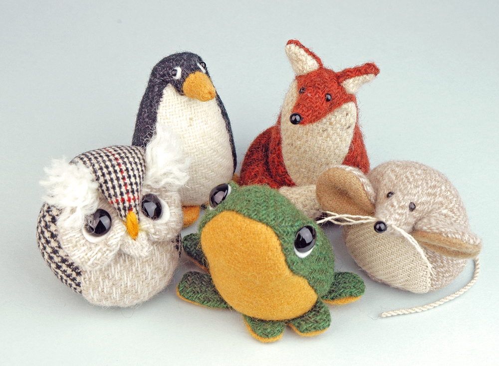 Tweed animal paperweight collection.
