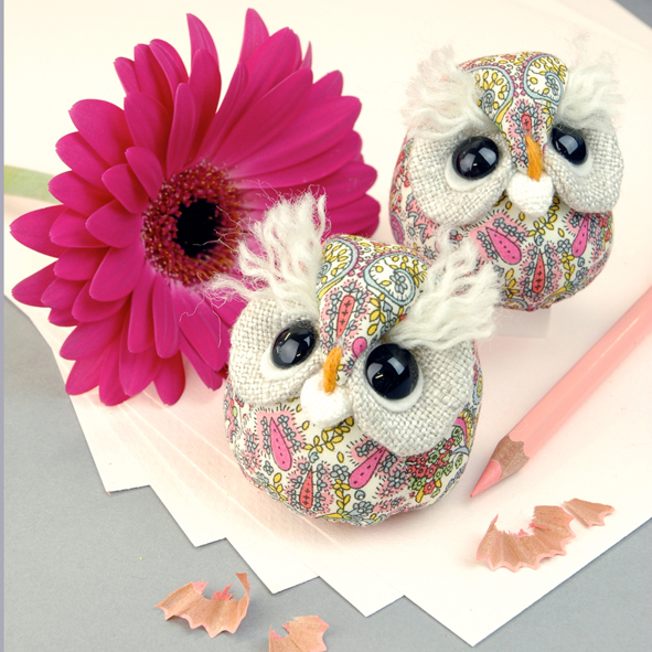 Handmade Liberty print owl paperweights.