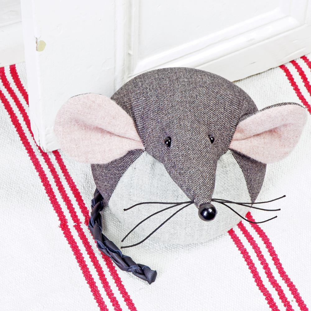 Handmade tweed mouse doorstop.