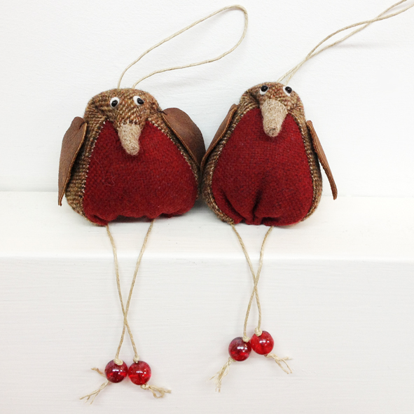 Handmade tweed hanging robins with leather wings.