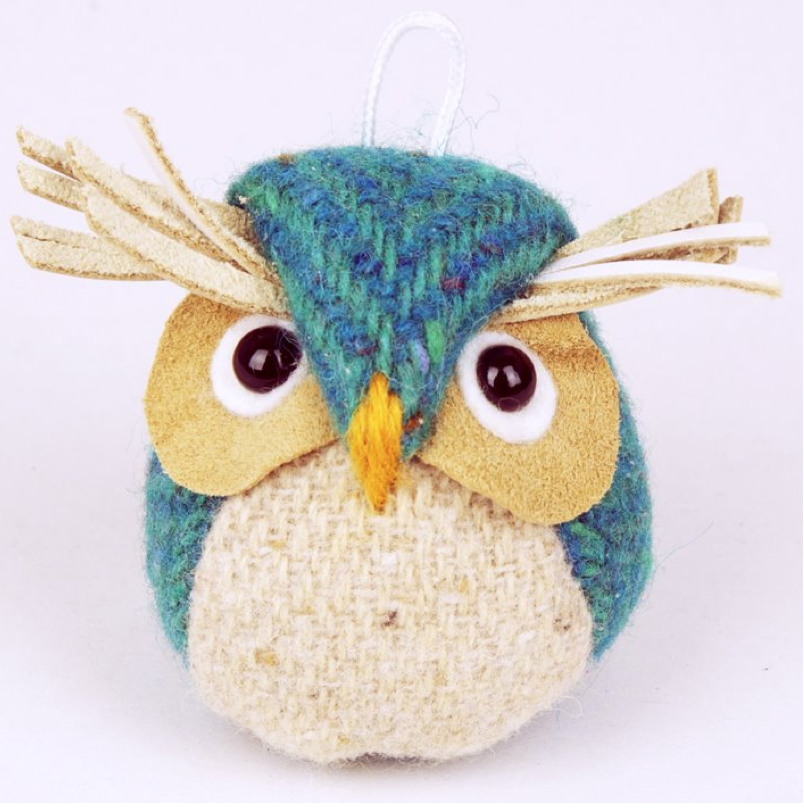 Handmade tweed owl key ring/bag charm.