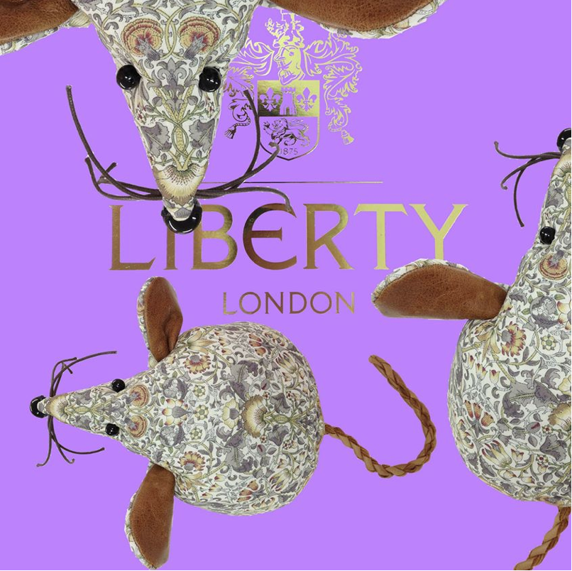 Handmade Liberty print mice doorstops.