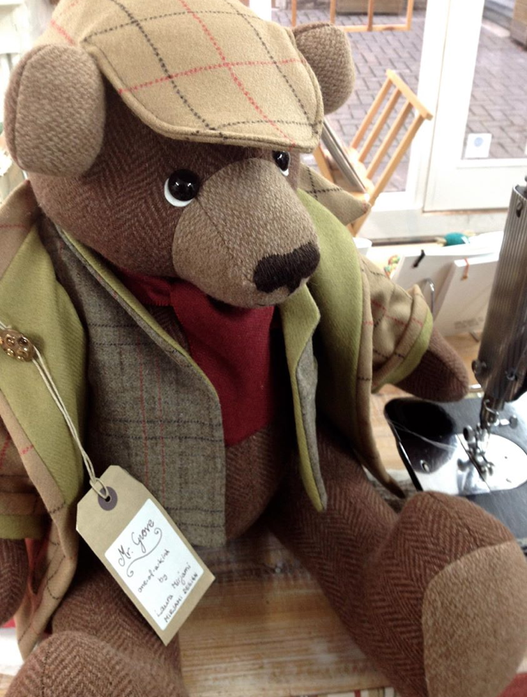 OOAK artist teddy bear handmade from British tweed.