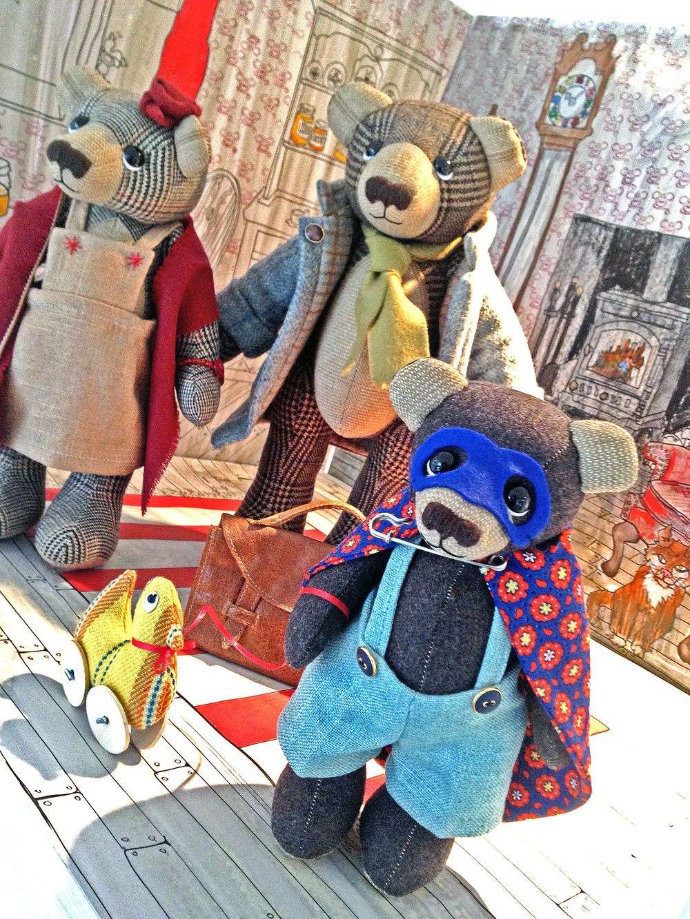 OOAK artist teddy bear family in British tweed fabrics.