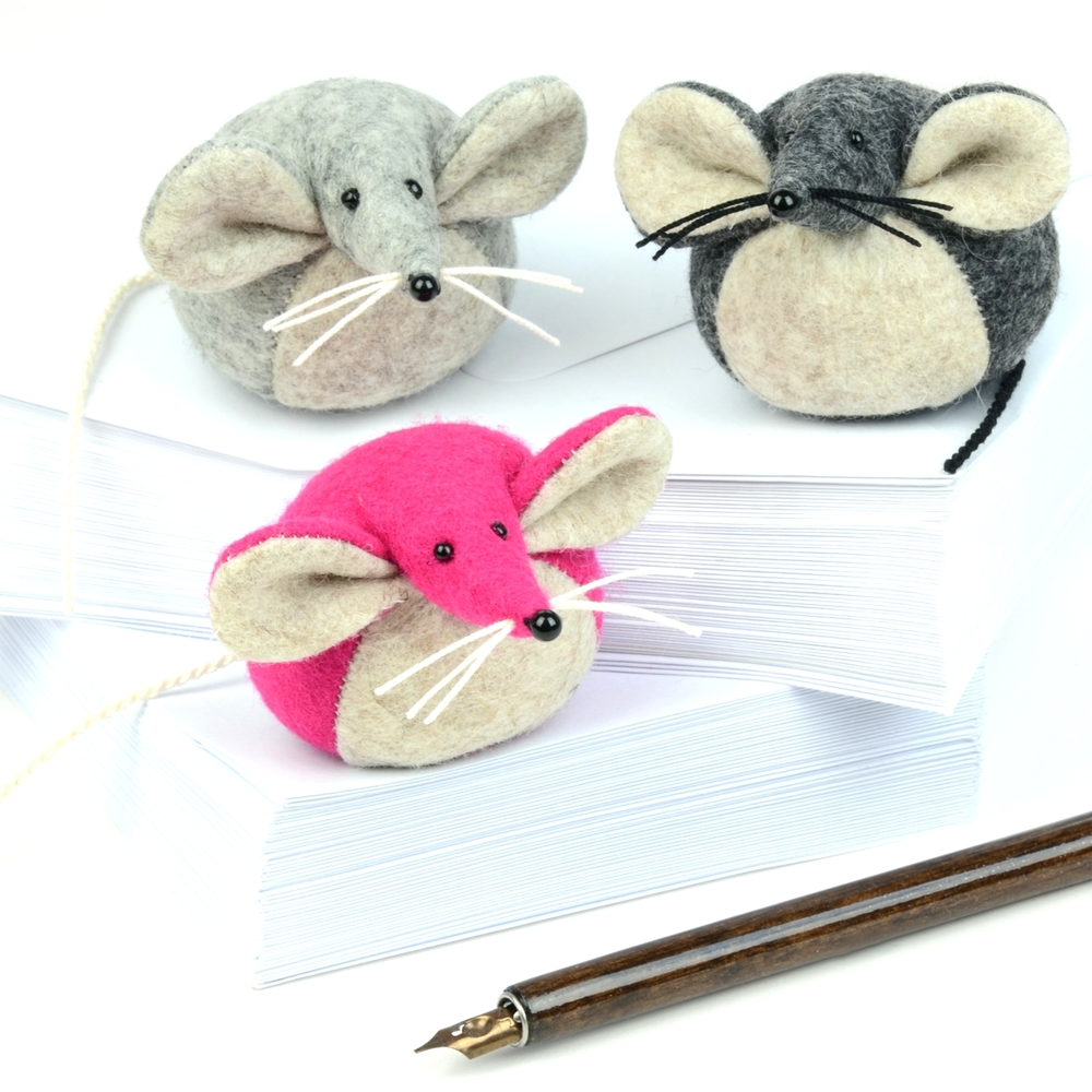 Trio of handmade felt mice paperweights.