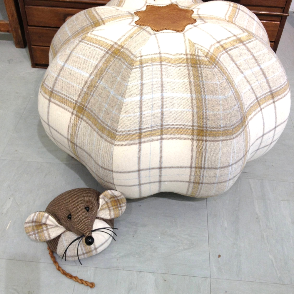 Handmade tartan tweed pumpkin pouffe and a mouse doorstop.