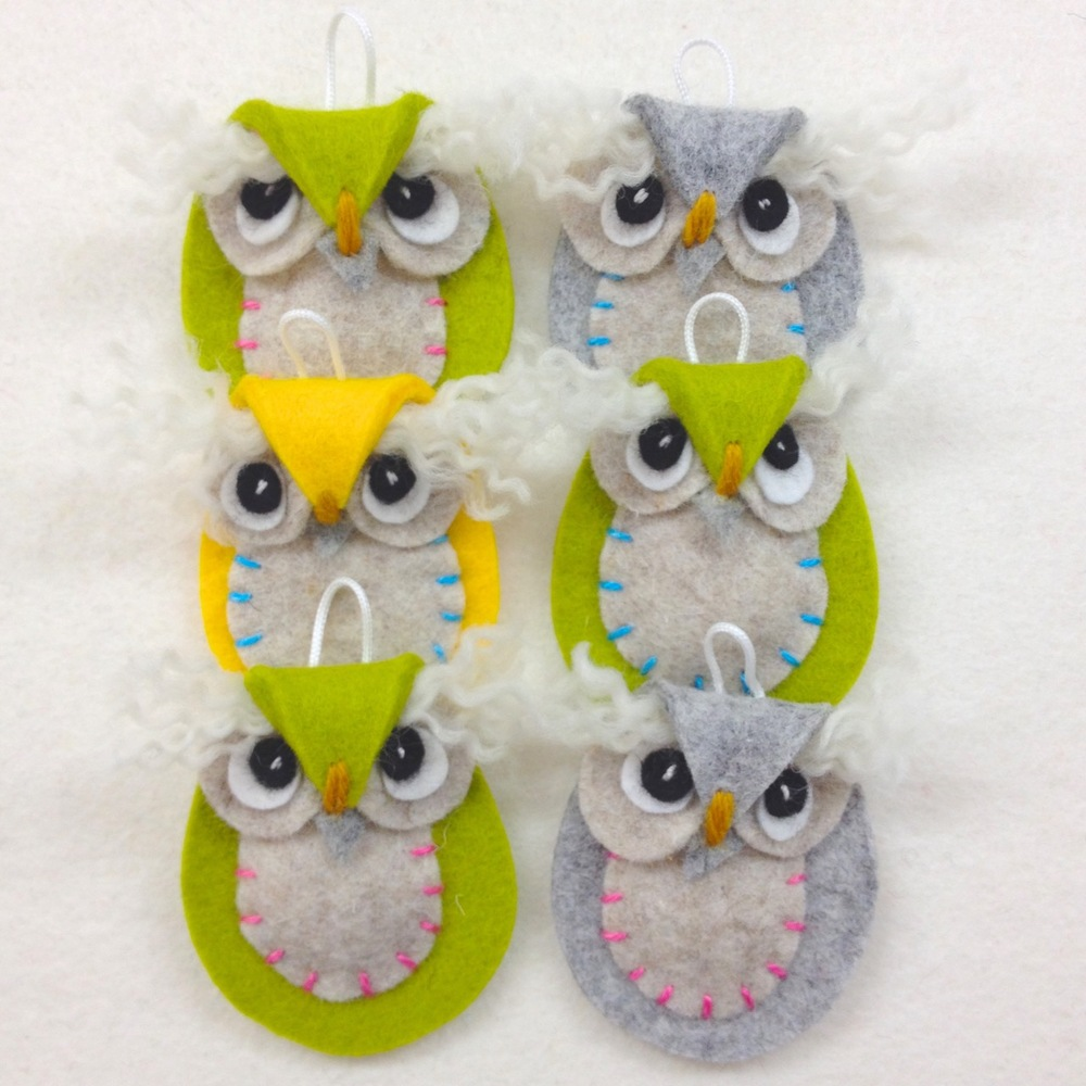 Handmade wool felt hanging owl decorations/ key rings.