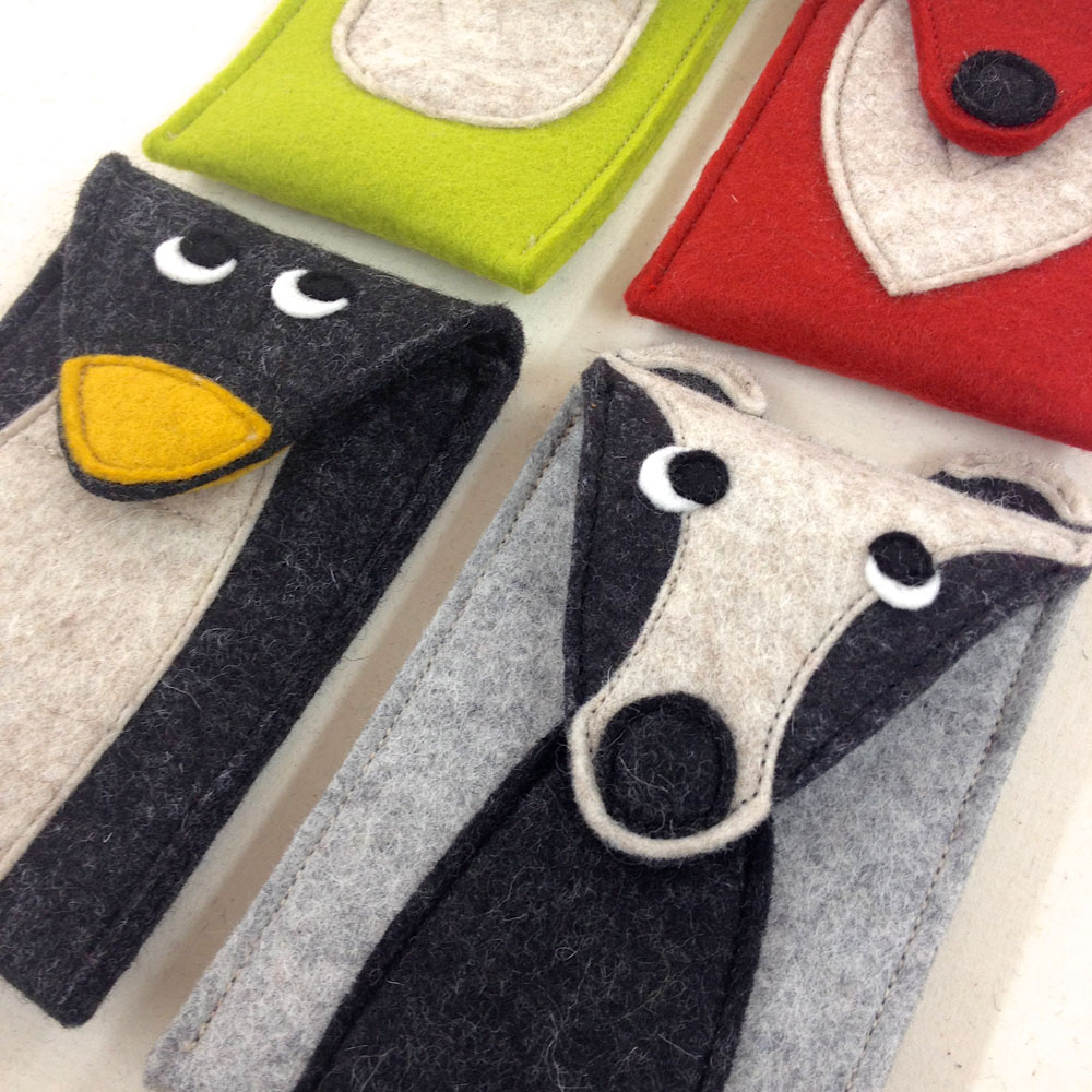 Handmade wool felt smartphone covers, glasses cases.