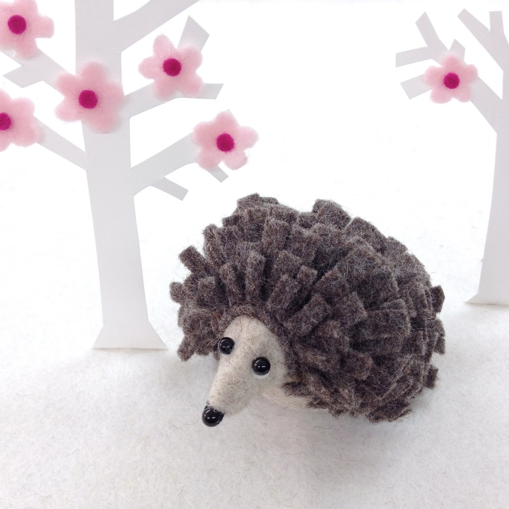 Handmade Hedwig the Hedgehog felt paperweight.