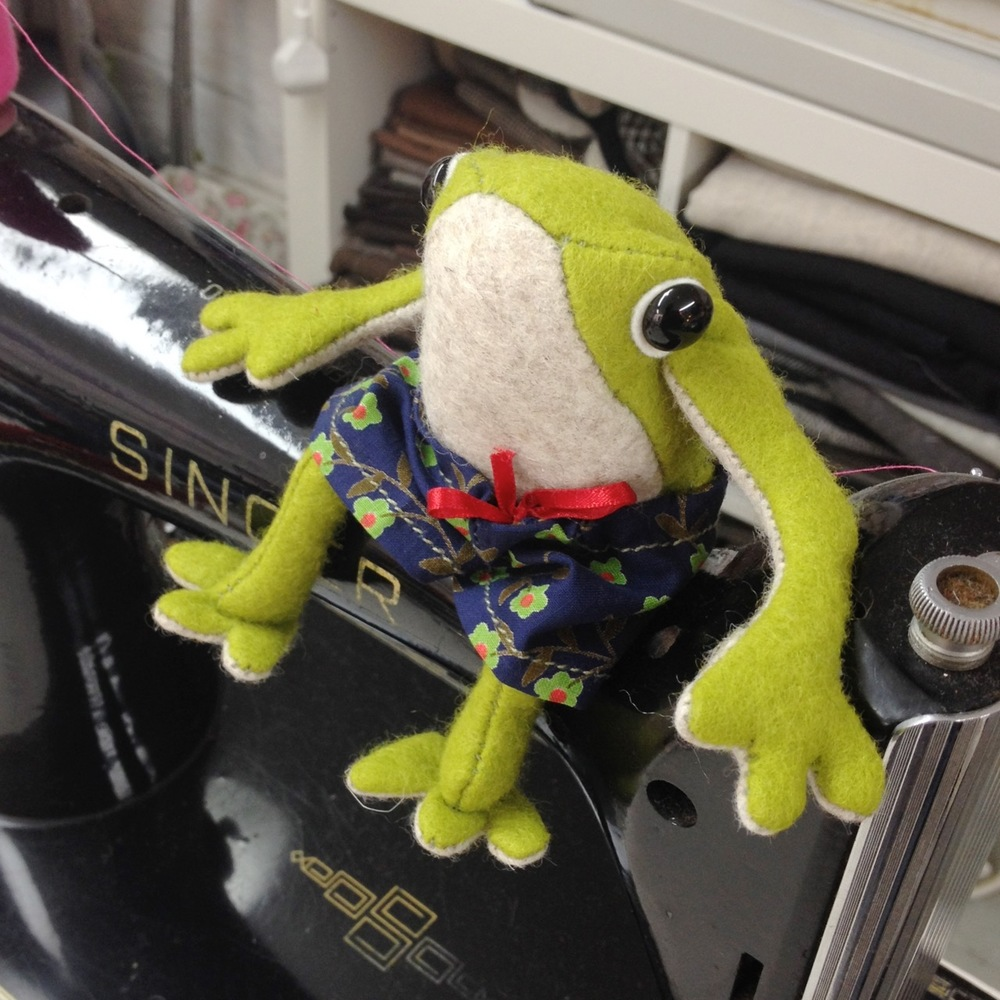 Handmade Croaker the Frog artist doll.