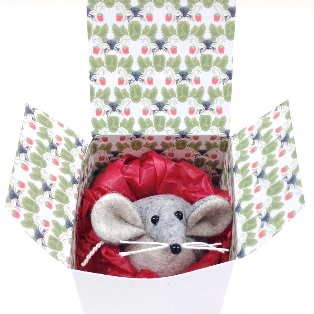 Handmade Marie the Mouse felt ornament in a handmade gift box with mouse and strawberry pattern.