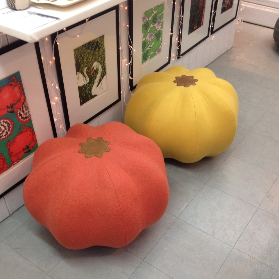 Handmade pumpkin pouffes, footstools by Laura Mirjami.