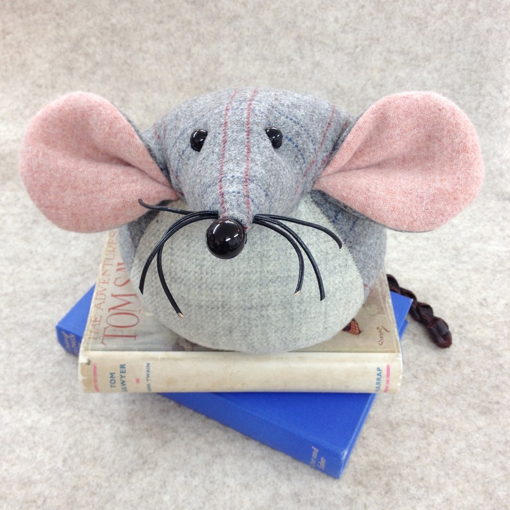 Handmade tweed mouse doorstop or bookend.