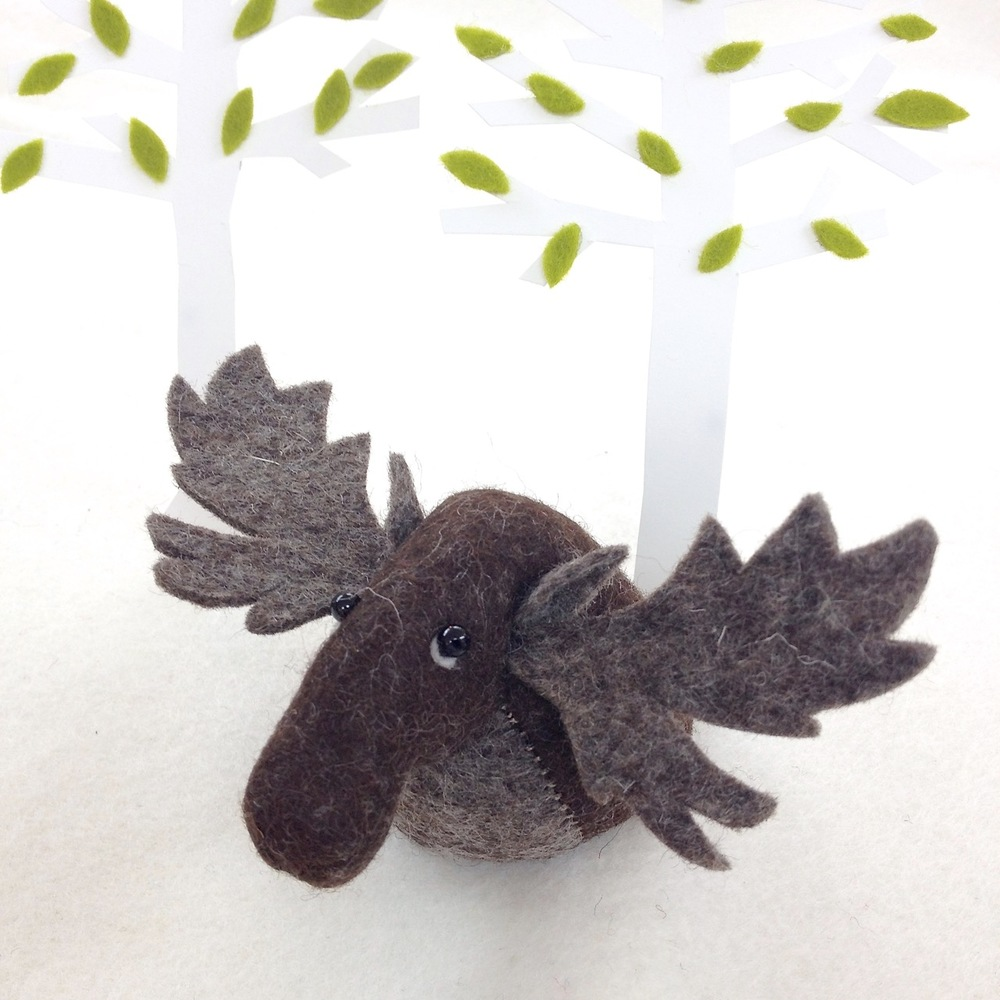 Handmade Mr Moose felt soft sculpture paperweight.