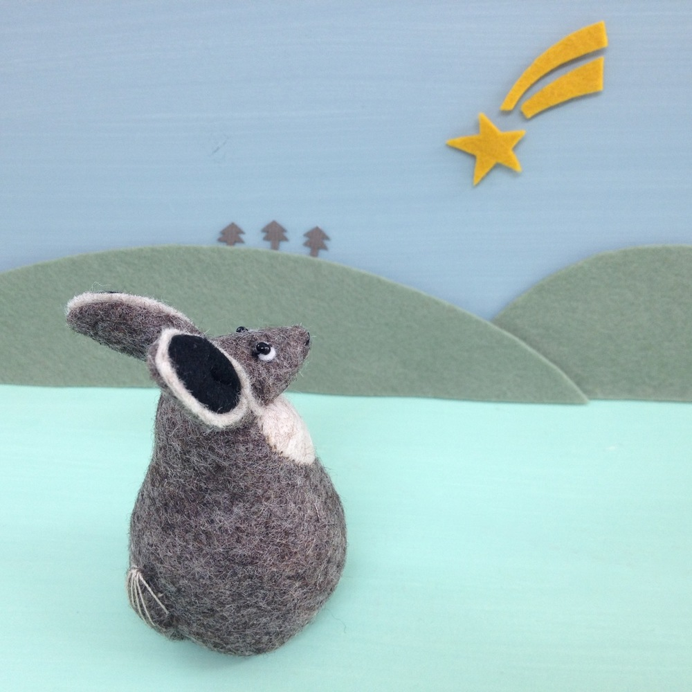 Handmade felt hare soft sculpture ornament Henrietta. Also a perfect little paperweight.