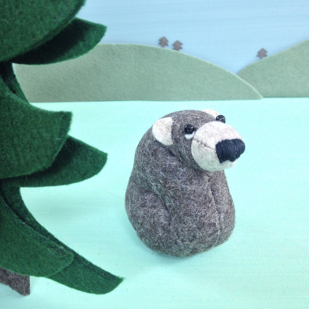 Ernest the Brown Bear Paperweight handmade from 100% wool felt.