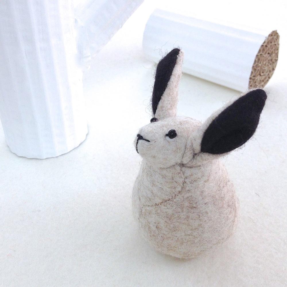 Handmade Hector the felt Arctic hare.