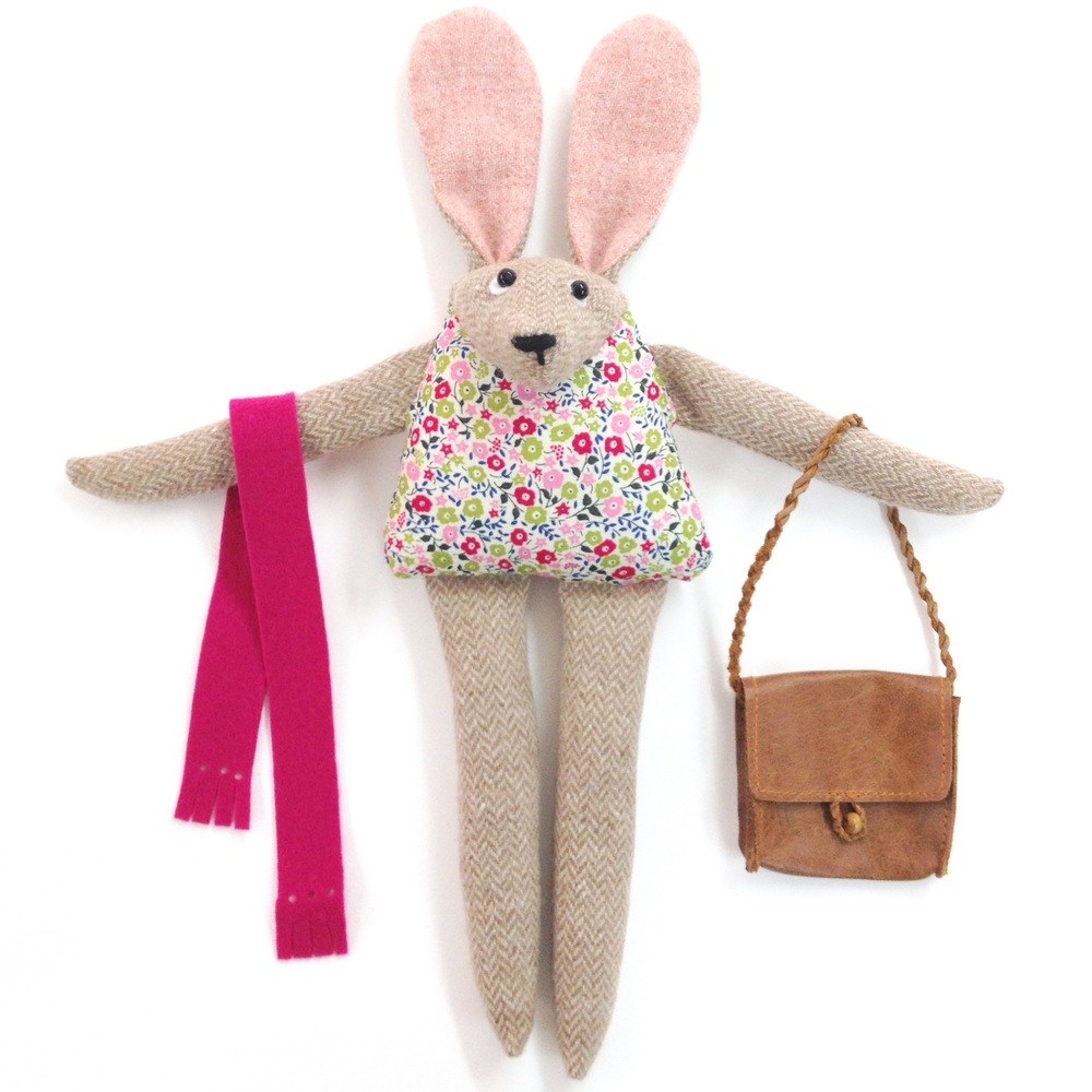 Handmade artist bunny with British tweed and Liberty print fabrics and a leather satchel.