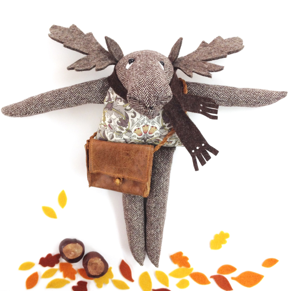 Mr Moose tweed and Liberty print artist rag doll with a leather satchel.