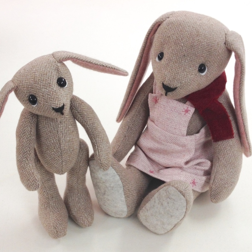 OOAK artist bunnies Beatrix and Beatrice handmade from British tweed.