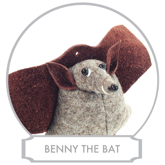 Benny the Bat  is a master pilot and he doesn't enjoy anything more than flying as closely as possible to objects around him and these include trees and fellow inhabitants of Bilberry Woods.  READ MORE >