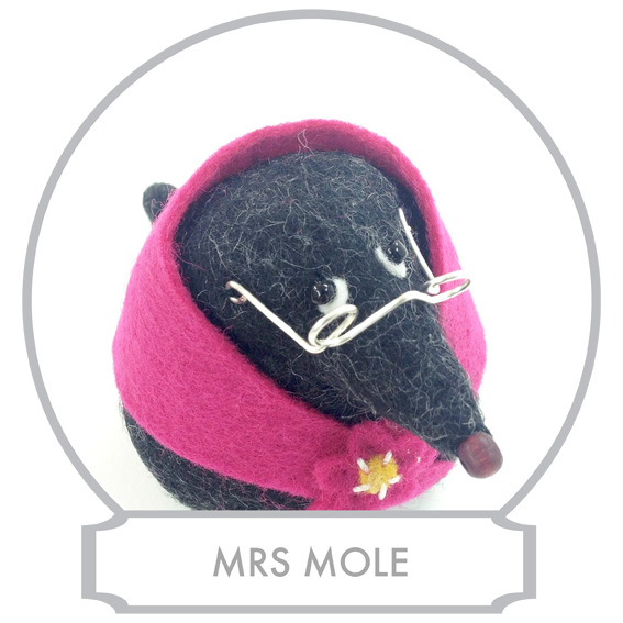 Mrs Mole  with her husband Mr Mole have a candle factory that produces the most exquisite beeswax candles.  READ MORE >