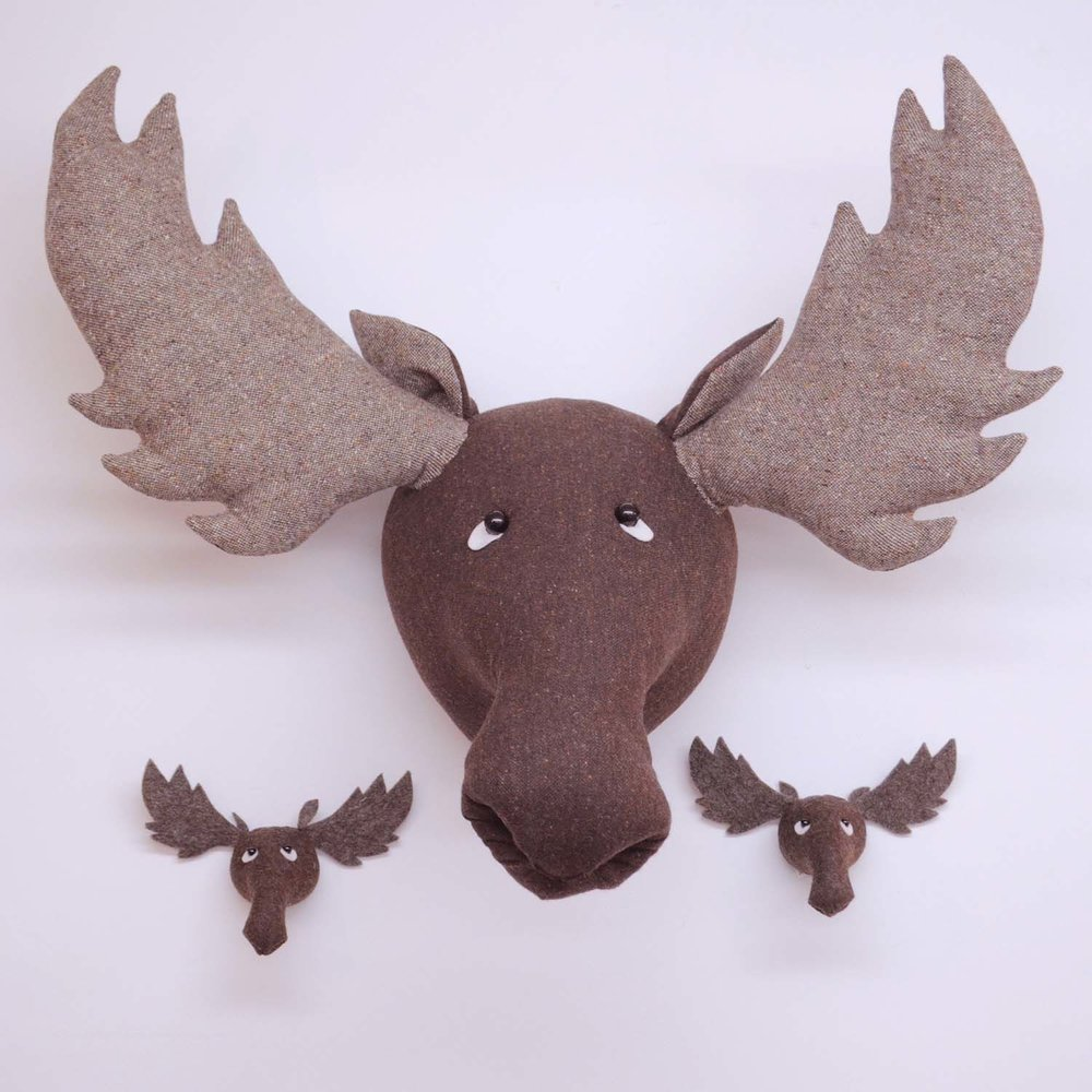 Bilberry Woods storybook character Mr Moose animal wall head hanging by Laura Mirjami | Mirjami Design