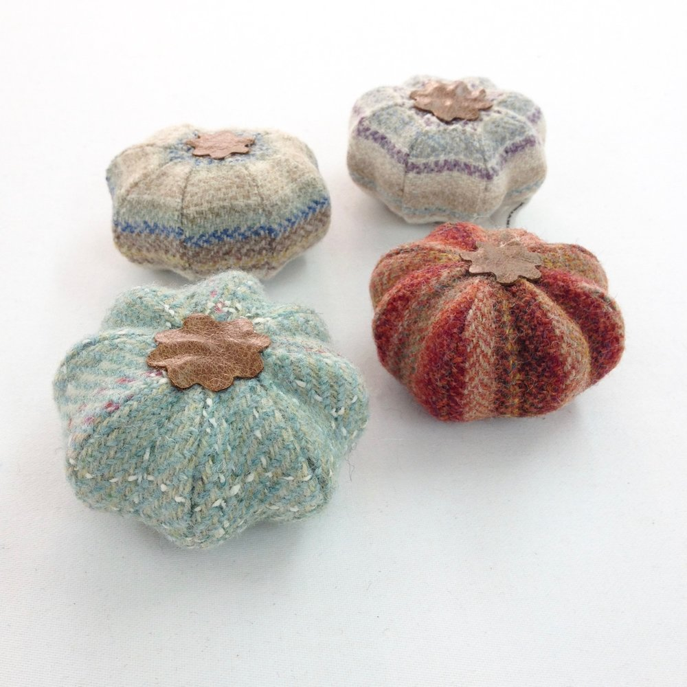 Miniature tweed pumpkin pouffes/footstools by Laura Mirjami | Mirjami Design