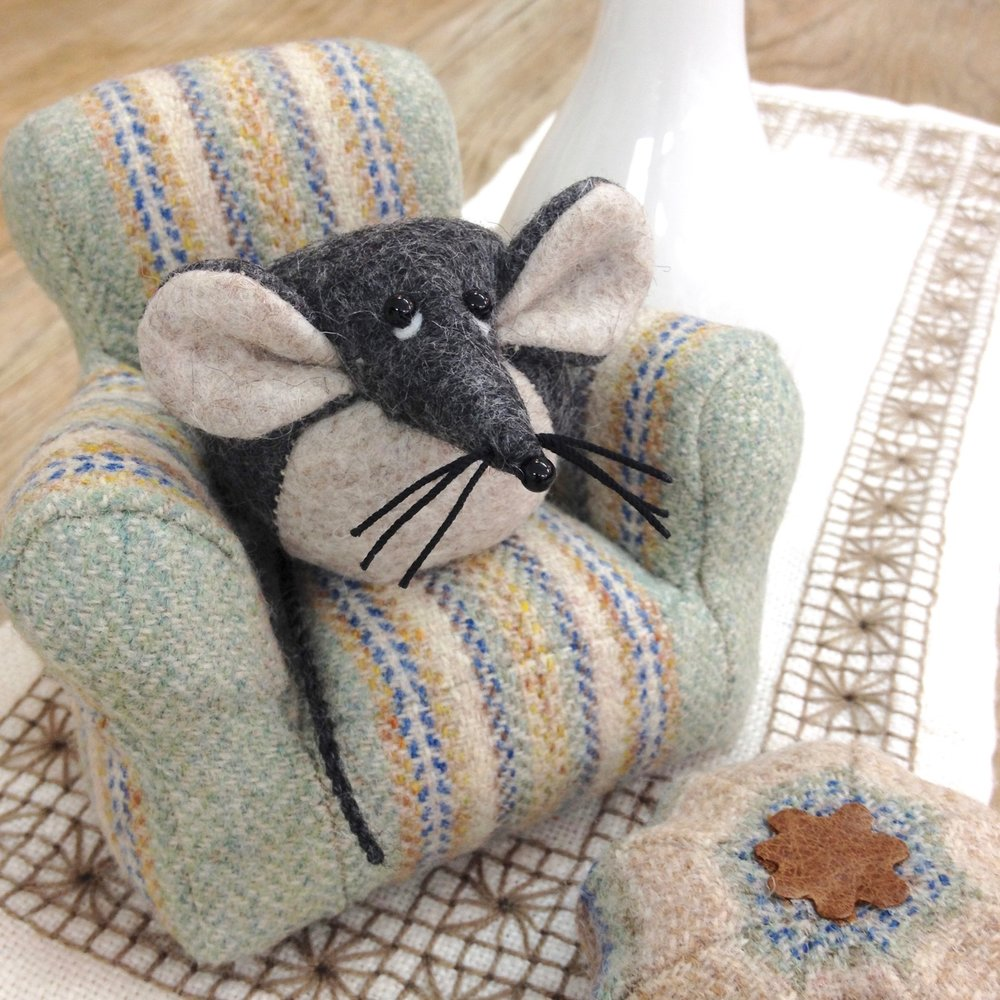 Bilberry Woods character Mika the Mouse and miniature armchair by Laura Mirjami | Mirjami Design