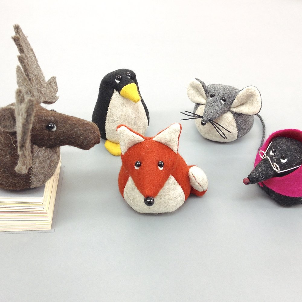 Bilberry Woods character felt paperweights by Laura Mirjami | Mirjami Design