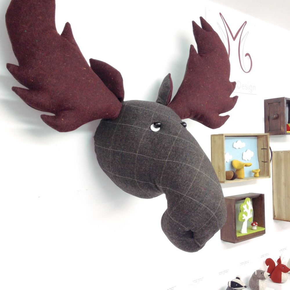 Tweed moose head wall hanging by Laura Mirjami | Mirjami Design