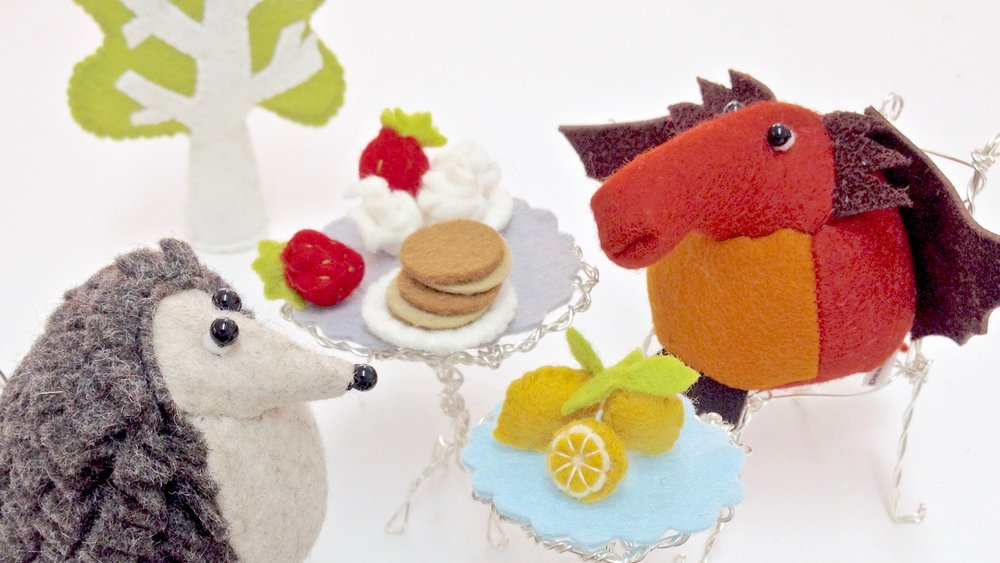 Bilberry Woods story book characters having a pancake party all handmade by Laura Mirjami | Mirjami Design.
