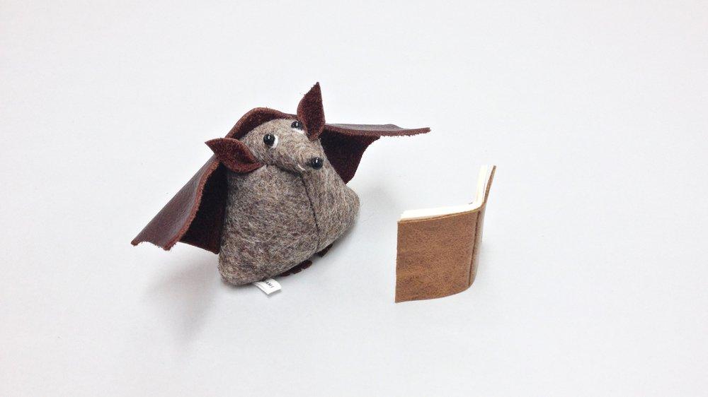 Bilberry Woods storybook character Benny the Bat handmade from wool felt by Laura Mirjami   Mirjami Design.