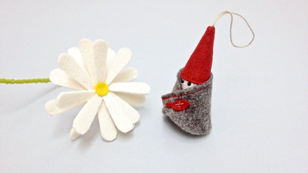 Bilberry Woods storybook drawrf handmade from wool felt by Laura Mirjami | Mirjami Design.