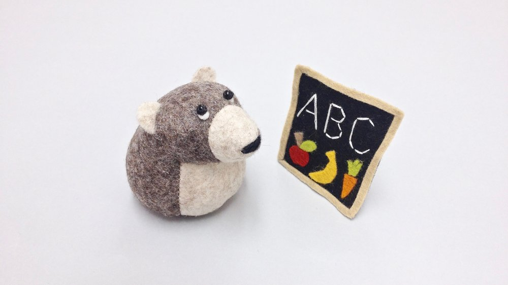 Bilberry Woods storybook character Ernest the Brown Bear handmade from wool felt by Laura Mirjami | Mirjami Design.