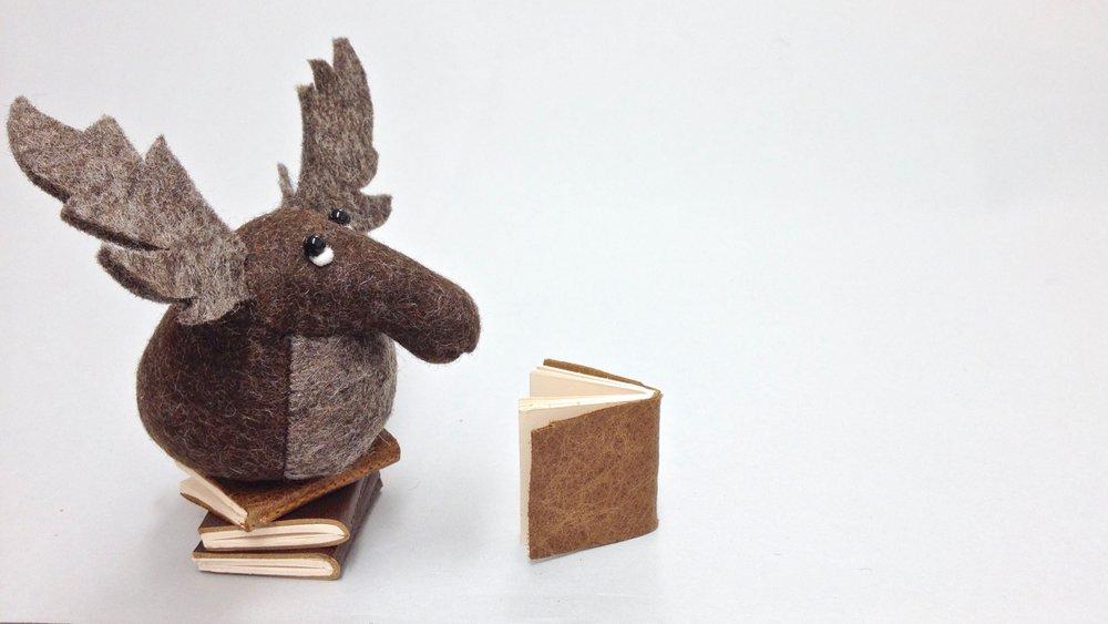Bilberry Woods character Mr Moose wool felt animal figurine handmade by Laura Mirjami | Mirjami Design