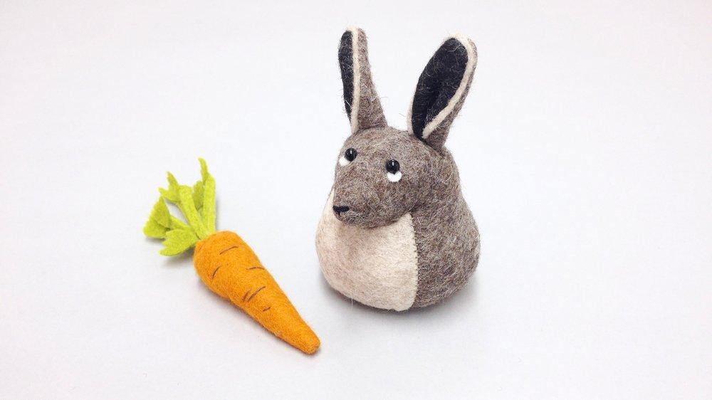Bilberry Woods storybook character Henrietta the Hare handmade from wool felt by Laura Mirjami | Mirjami Design.