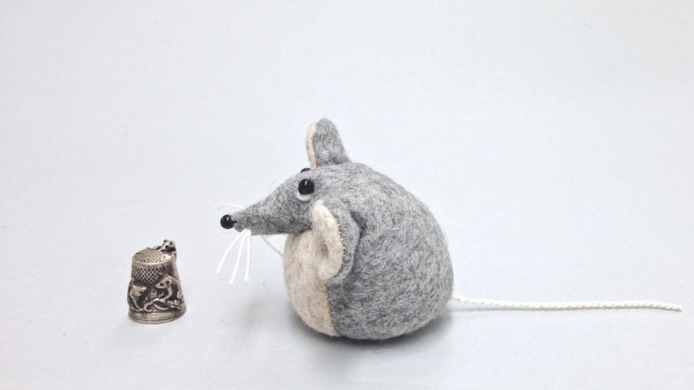 Bilberry Woods storybook character Marie the Mouse handmade from wool felt by Laura Mirjami | Mirjami Design.